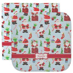 Santas w/ Presents Facecloth / Wash Cloth (Personalized)