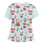 Santas w/ Presents Women's Crew T-Shirt (Personalized)