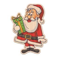 Santas w/ Presents Genuine Wood Sticker (Personalized)