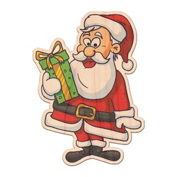 Santas w/ Presents Genuine Wood Sticker (Personalized)