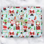 Santas w/ Presents Wrapping Paper (Personalized)