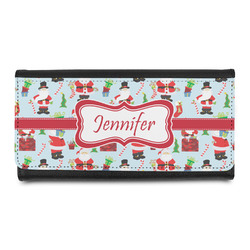 Santas w/ Presents Leatherette Ladies Wallet (Personalized)