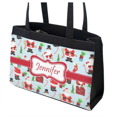 Santa and Presents Zippered Everyday Tote w/ Name or Text