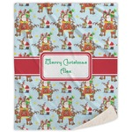 Santa on Sleigh Sherpa Throw Blanket (Personalized)