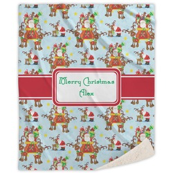 Santa on Sleigh Sherpa Throw Blanket (Personalized)