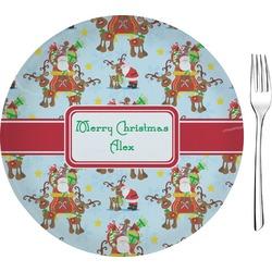 Santa on Sleigh Glass Appetizer / Dessert Plates 8