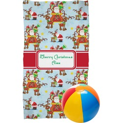 Santa on Sleigh Beach Towel (Personalized)