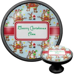 Santa on Sleigh Cabinet Knob (Black) (Personalized)