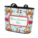 Santa on Sleigh Bucket Tote w/ Genuine Leather Trim (Personalized)