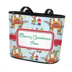 Santa on Sleigh Bucket Tote w/ Genuine Leather Trim (Personalized)