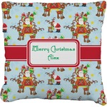 Santa on Sleigh Faux-Linen Throw Pillow (Personalized)