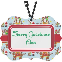 Santa on Sleigh Rear View Mirror Charm (Personalized)