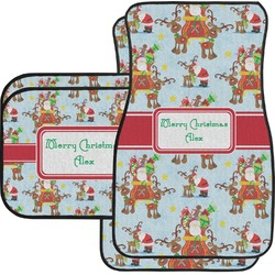 Santa on Sleigh Car Floor Mats Set - 2 Front & 2 Back (Personalized)