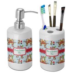 Santa on Sleigh Bathroom Accessories Set (Ceramic) (Personalized)