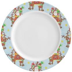 Santa on Sleigh Ceramic Dinner Plates (Set of 4) (Personalized)