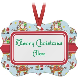 Santa on Sleigh Ornament (Personalized)