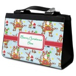 Santa on Sleigh Classic Tote Purse w/ Leather Trim (Personalized)