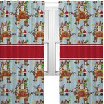 Santa on Sleigh Curtains (2 Panels Per Set) (Personalized)