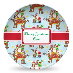 Santa on Sleigh Microwave Safe Plastic Plate - Composite Polymer (Personalized)