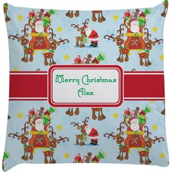 Santa on Sleigh Decorative Pillow Case (Personalized)