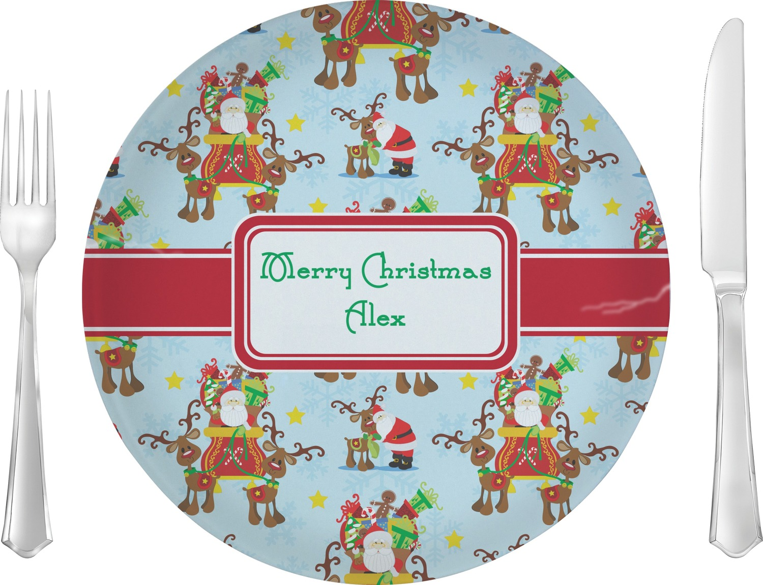 Santa On Sleigh Glass Lunch Dinner Plate 10  sc 1 st  Castrophotos & Personalised Dinner Plates For Kids - Castrophotos