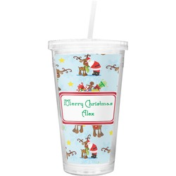 Santa on Sleigh Double Wall Tumbler with Straw (Personalized)