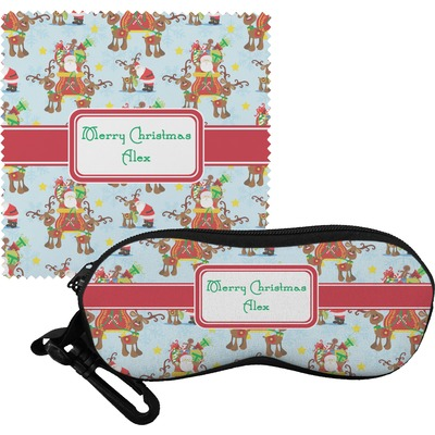 Santa on Sleigh Eyeglass Case & Cloth (Personalized)