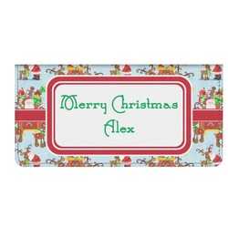 Santa on Sleigh Genuine Leather Checkbook Cover (Personalized)