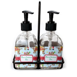 Santa on Sleigh Soap & Lotion Dispenser Set (Glass) (Personalized)