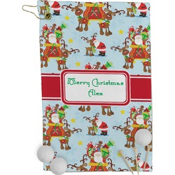 Santa on Sleigh Golf Towel - Full Print (Personalized)