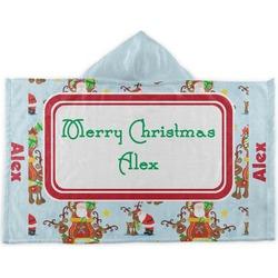 Santa on Sleigh Kids Hooded Towel (Personalized)