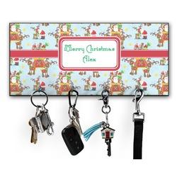 Santa on Sleigh Key Hanger w/ 4 Hooks (Personalized)