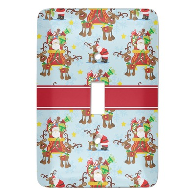 Santa on Sleigh Light Switch Cover (Single Toggle) (Personalized)