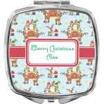Santa on Sleigh Compact Makeup Mirror (Personalized)
