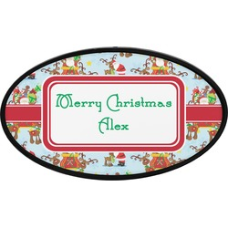 Santa on Sleigh Oval Trailer Hitch Cover (Personalized)