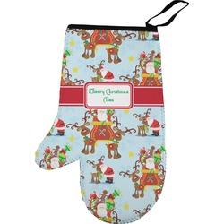 Santa on Sleigh Left Oven Mitt (Personalized)