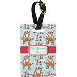 Santa on Sleigh Rectangular Luggage Tag (Personalized)