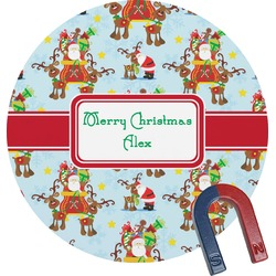 Santa on Sleigh Round Magnet (Personalized)