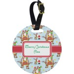 Santa on Sleigh Round Luggage Tag (Personalized)