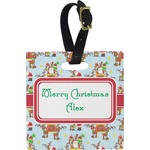 Santa on Sleigh Square Luggage Tag (Personalized)
