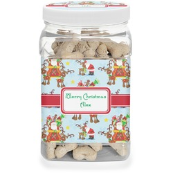 Santa on Sleigh Pet Treat Jar (Personalized)