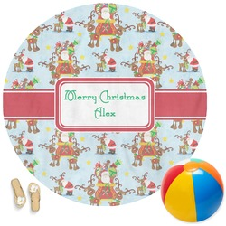Santa on Sleigh Round Beach Towel (Personalized)
