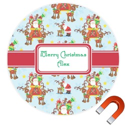 Santa on Sleigh Round Car Magnet (Personalized)