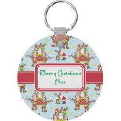 Santa on Sleigh Round Keychain (Personalized)