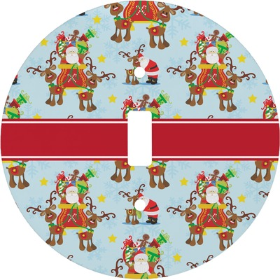 Santa on Sleigh Round Light Switch Cover (Personalized)