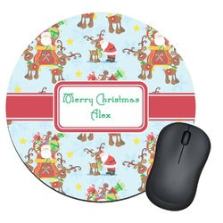 Santa on Sleigh Round Mouse Pad (Personalized)