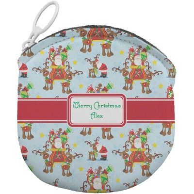 Santa on Sleigh Round Coin Purse (Personalized)