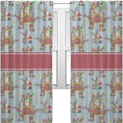 Santa on Sleigh Sheer Curtains (Personalized)