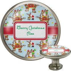Santa on Sleigh Cabinet Knob (Silver) (Personalized)