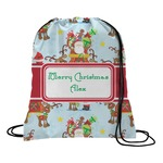 Santa on Sleigh Drawstring Backpack (Personalized)